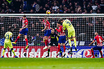 Filipe Luis of Atletico de Madrid (C) heads the ball during the La Liga 2018-19 match between Atletico Madrid and FC Barcelona at Wanda Metropolitano on November 24 2018 in Madrid, Spain. Photo by Diego Souto / Power Sport Images