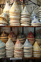 Alberobello hand made linen covers in La Botega die Finchietti shop.  Alberobello, Puglia, Italy.  Pictures, photos, images & fotos.