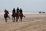 August 16, 2021, Deauville (France) - Racehorses after training at the beach in Deauville. [Copyright (c) Sandra Scherning/Eclipse Sportswire)]
