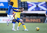 Kilmarnock v St Johnstone…30.01.21   Rugby Park   SPFL<br />Chris Kane holds off Clevid Dikamona<br />Picture by Graeme Hart.<br />Copyright Perthshire Picture Agency<br />Tel: 01738 623350  Mobile: 07990 594431