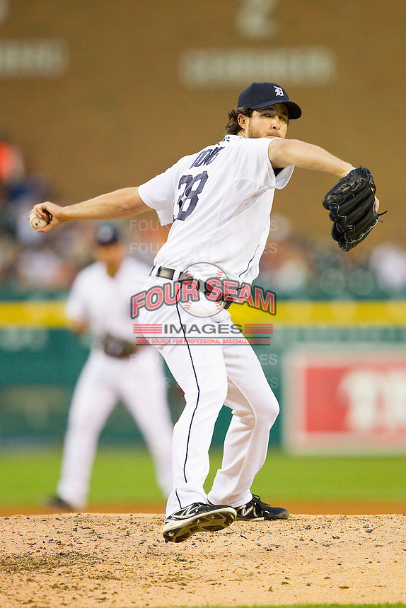 Detroit Tigers relief pitcher Darin Downs (38) in action against the Los Angeles Angels at Comerica Park on June 25, 2013 in Detroit, Michigan.  The Angels defeated the Tigers 14-8.  (Brian Westerholt/Four Seam Images)
