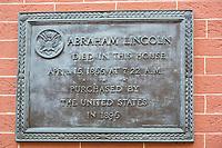 Plaque, House Where Lincoln Died, Washington DC, USA.