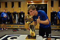 San Jose, CA - Monday July 10, 2017: Florian Jungwirth, NBA Trophy prior to a U.S. Open Cup quarterfinal match between the San Jose Earthquakes and the Los Angeles Galaxy at Avaya Stadium.
