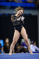 LOS ANGELES, CA - April 19, 2013:  Stanford's Nicole Dayton competes on floor exercise during the NCAA Championships at UCLA.