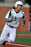 Right fielder T.J. Nichting (1) of the Charlotte 49ers runs out a batted ball in a game against the Fairfield Stags on Saturday, March 12, 2016, at Hayes Stadium in Charlotte, North Carolina. (Tom Priddy/Four Seam Images)