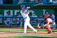 Brandon Montgomery (18) of the Ogden Raptors at bat against the Billings Mustangs in Pioneer League action at Lindquist Field on August 12, 2016 in Ogden, Utah. Billings defeated Ogden 7-6. (Stephen Smith/Four Seam Images)