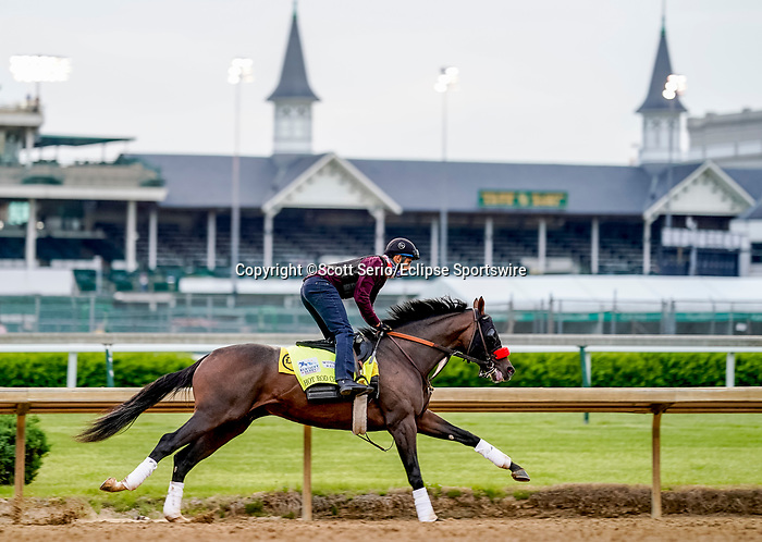 April 28, 2021: Hot Rod Charlie, trained by trainer Doug O'Neill, exercises in preparation for the Kentucky Derby at Churchill Downs on April 29, 2021 in Louisville, Kentucky. Scott Serio/Eclipse Sportswire/CSM