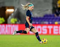 ORLANDO, FL - FEBRUARY 24: Julie Ertz #8 of the USWNT passes the ball during a game between Argentina and USWNT at Exploria Stadium on February 24, 2021 in Orlando, Florida.