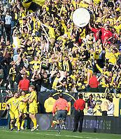 Chad Marshall, right, is congratulated after scoring a goal in the second half of the MLS Cup 2008, Columbus Crew 3-1 over the New York Red Bulls, Sunday, November 23, 2008.