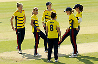 Tash Farrant (second left) of South East Stars celebrates taking the wicket of Alice MacLeod during Sunrisers vs South East Stars, Rachael Heyhoe Flint Trophy Cricket at The Cloudfm County Ground on 13th September 2020