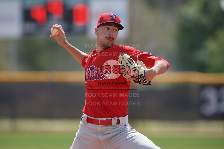 Philadelphia Phillies pitcher Dominic Pipkin (45) during an exhibition game against the Canada Junior National Team on March 11, 2020 at Baseball City in St. Petersburg, Florida.  (Mike Janes/Four Seam Images)