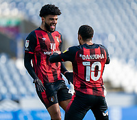 13th April 2021; The John Smiths Stadium, Huddersfield, Yorkshire, England; English Football League Championship Football, Huddersfield Town versus Bournemouth; Philip Billing of Bournemouth celebrates his goal with team mate Danjuma  making its 1-0 in the 15th minute