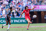 Nathan Hirayama of Canada kicks during the HSBC Hong Kong Sevens 2018 Bowl Final match between Canada and France on 08 April 2018, in Hong Kong, Hong Kong. Photo by Marcio Rodrigo Machado / Power Sport Images