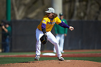 East Carolina Pirates relief pitcher C.J. Mayhue (7) in action against the Charlotte 49ers at Hayes Stadium on March 8, 2020 in Charlotte, North Carolina. The Pirates defeated the 49ers 4-1. (Brian Westerholt/Four Seam Images)