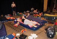 15-sept.-2013,Netherlands, Groningen,  Martini Plaza, Tennis, DavisCup Netherlands-Austria, Wake up call for students sleeping in Martiniplaza <br /> Photo: Henk Koster