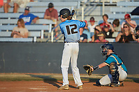 Russell Fields (12) (East Lincoln HS) of the Dry Pond Blue Sox at bat against the Mooresville Spinners at Moor Park on July 2, 2020 in Mooresville, NC.  The Spinners defeated the Blue Sox 9-4. (Brian Westerholt/Four Seam Images)