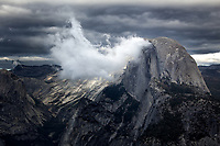 Storm rolling over Half Dome in Yosemite National Park, California