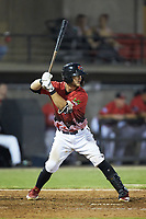 Max McDowell (4) of the Carolina Mudcats at bat during the 2018 Carolina League All-Star Classic at Five County Stadium on June 19, 2018 in Zebulon, North Carolina. The South All-Stars defeated the North All-Stars 7-6.  (Brian Westerholt/Four Seam Images)