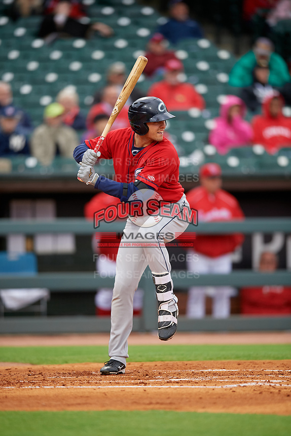 Columbus Clippers Richie Shaffer (8) bats during a game against the Louisville Bats on May 1, 2017 at Louisville Slugger Field in Louisville, Kentucky.  Columbus defeated Louisville 6-1  (Mike Janes/Four Seam Images)