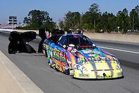 Mar. 13, 2011; Gainesville, FL, USA; NHRA funny car driver Tony Pedregon during the Gatornationals at Gainesville Raceway. Mandatory Credit: Mark J. Rebilas-