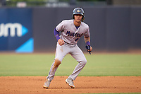 Fort Myers Mighty Mussels Keoni Cavaco (9) leads off second base during a game against the Tampa Yankees on May 19, 2021 at George M. Steinbrenner Field in Tampa, Florida. (Mike Janes/Four Seam Images)