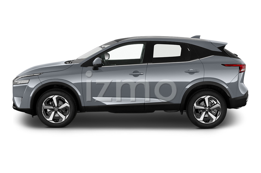 Car Driver side profile view of a 2022 Nissan Qashqai N-Connecta 5 Door SUV Side View