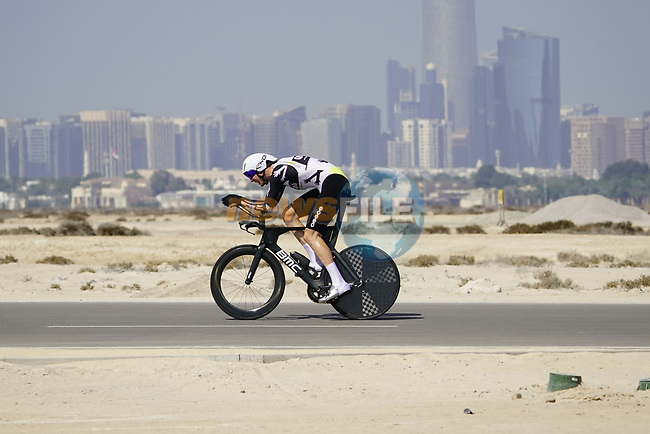 Louis Meintjes (RSA) Team Qhubeka Assos during Stage 2 of the 2021 UAE Tour an individual time trial running 13km around  Al Hudayriyat Island, Abu Dhabi, UAE. 22nd February 2021.  <br /> Picture: Eoin Clarke   Cyclefile<br /> <br /> All photos usage must carry mandatory copyright credit (© Cyclefile   Eoin Clarke)