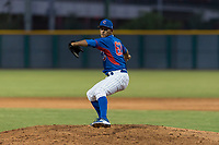 AZL Cubs 2 relief pitcher Elias Herrera (67) delivers a pitch during an Arizona League game against the AZL White Sox at Sloan Park on July 13, 2018 in Mesa, Arizona. The AZL Cubs 2 defeated the AZL White Sox by a score of 6-4. (Zachary Lucy/Four Seam Images)