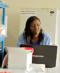 A lab technician at Kibuye Hospital, Karongi District, Western Rwanda