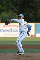 Myrtle Beach Pelicans pitcher Roman Mendez #30 on the mound during a game against the Salem Red Sox at Tickerreturn.com Field at Pelicans Ballpark on May 11, 2012 in Myrtle Beach, South Carolina. Salem defeated Myrtle Beach by the score of 5-3 in 14 innings. (Robert Gurganus/Four Seam Images)
