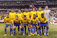 Brazil starting eleven. The men's national team of Brazil (BRA) defeated the United States (USA) 2-0 during an international friendly at the New Meadowlands Stadium in East Rutherford, NJ, on August 10, 2010.