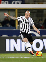 Calcio, Serie A:  Bologna vs Juventus. Bologna, stadio Renato Dall'Ara, 19 febbraio 2016. <br /> Juventus's Simone Zaza in action during the Italian Serie A football match between Bologna and Juventus at Bologna's Renato Dall'Ara stadium, 19 February 2016.<br /> UPDATE IMAGES PRESS/Isabella Bonotto