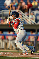 Brooklyn Cyclones first baseman Pedro Perez (10) at bat during a game against the Batavia Muckdogs on August 9, 2014 at Dwyer Stadium in Batavia, New York.  Batavia defeated Brooklyn 4-2.  (Mike Janes/Four Seam Images)