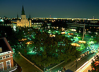 Aerial, evening view of the French Quarter skyline and Jackson Square. New Orleans, Louisiana.