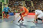Leipzig, Germany, February 08: Robbert van de Peppel #14 of The Netherlands in action during the men gold medal match between The Netherlands (orange) and Austria (white) on February 8, 2015 at the FIH Indoor Hockey World Cup at Arena Leipzig in Leipzig, Germany. Final score 3-2. (Photo by Dirk Markgraf / www.265-images.com) *** Local caption ***