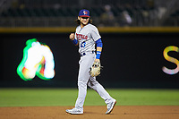 Buffalo Bisons shortstop Bo Bichette (13) on defense against the Caballeros de Charlotte at BB&T BallPark on July 23, 2019 in Charlotte, North Carolina. The Bisons defeated the Caballeros 8-1. (Brian Westerholt/Four Seam Images)
