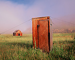 Foggy morning at the sheepherders outhouse in the Eastern Sierra, Mono County, California
