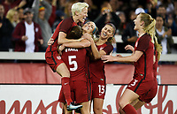 San Jose, CA - Sunday November 12, 2017: JJulie Ertz scores and celebrates with her teammates during an International friendly match between the Women's National teams of the United States (USA) and Canada (CAN) at Avaya Stadium.