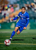 26 October 2019: University of Massachusetts Lowell River Hawk Forward Stanley Alves, a Graduate from Minas Gerais, Brazil, in first half action against the University of Vermont Catamounts at Virtue Field in Burlington, Vermont. The Catamounts rallied to defeat the River Hawks 2-1, propelling the Cats to the America East Division 1 conference playoffs. Mandatory Credit: Ed Wolfstein Photo *** RAW (NEF) Image File Available ***