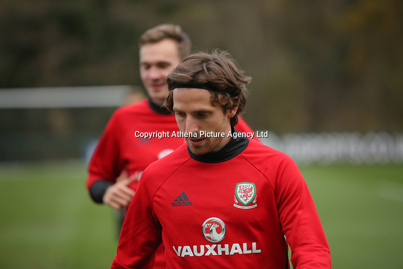 Joe Allen during the Wales Training Session at The Vale Resort, Wales, UK. 06 November 2017