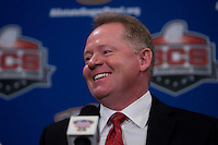Arkansas Head Coach Bobby Petrino laughs during the Head Coaches' Press Conference at Marriott at the Convention Center in New Orleans, Louisiana on January 3rd, 2011.