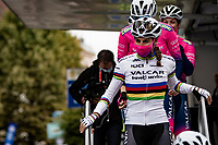World Champion Elisa Balsamo (ITA/Valcar-Travel and Service) presenting her rainbow jersey for the first time  at the race start in Denain<br /> <br /> Inaugural Paris-Roubaix Femmes 2021 (1.WWT)<br /> One day race from Denain to Roubaix (FRA)(116.4km)<br /> <br /> ©kramon