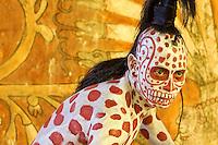Mayan Dancer Representing  Ah Puch, White Death.    Xcaret, Riviera Maya, Yucatan, Mexico.