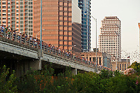 Hundreds of people gather to see 1.5 million bats take flight from under the Congress Avenue Bridge in the capitol city of Austin, Texas, the Live Music Capital of the World.