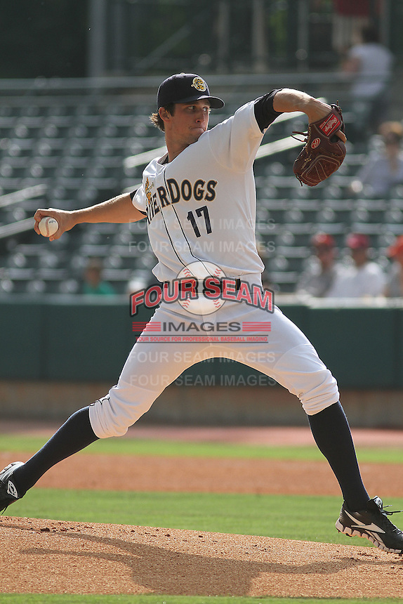 Charleston Riverdogs pitcher Bryan Mitchell #17 on the mound during a game against the Delmarva Shorebirds at Joseph P. Riley Jr. Park on May 6, 2012 in Charleston, South Carolina. Charleston defeated Delmarva by the score of 8-2. (Robert Gurganus/Four Seam Images)