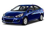 2017 Hyundai Accent SE 4-Door 6-Speed Automatic 4 Door Sedan Angular Front stock photos of front three quarter view