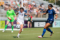 CARY, NC - SEPTEMBER 12: Emily Menges #5 of the Portland Thorns clears the ball during a game between Portland Thorns FC and North Carolina Courage at WakeMed Soccer Park on September 12, 2021 in Cary, North Carolina.