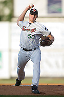 Winston-Salem's Adam Russell (50) winds up to deliver a pitch versus Lynchburg at Ernie Shore Field in Winston-Salem, NC, Saturday, June 3, 2006.  Winston-Salem defeated Lynchburg 3-2.