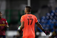 LAKE BUENA VISTA, FL - JULY 27: Daniel Vega #17 of the San Jose Earthquakes catches the ball during a game between San Jose Earthquakes and Real Salt Lake at ESPN Wide World of Sports on July 27, 2020 in Lake Buena Vista, Florida.