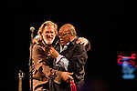 Quincy Jones introduces Jeff Bridges at The Troubadour in West Hollywood, California on June 28, 2011. Jeff Bridges performed songs from his self-titled album, which is due for an August 16, 2011, release on Blue Note Records.